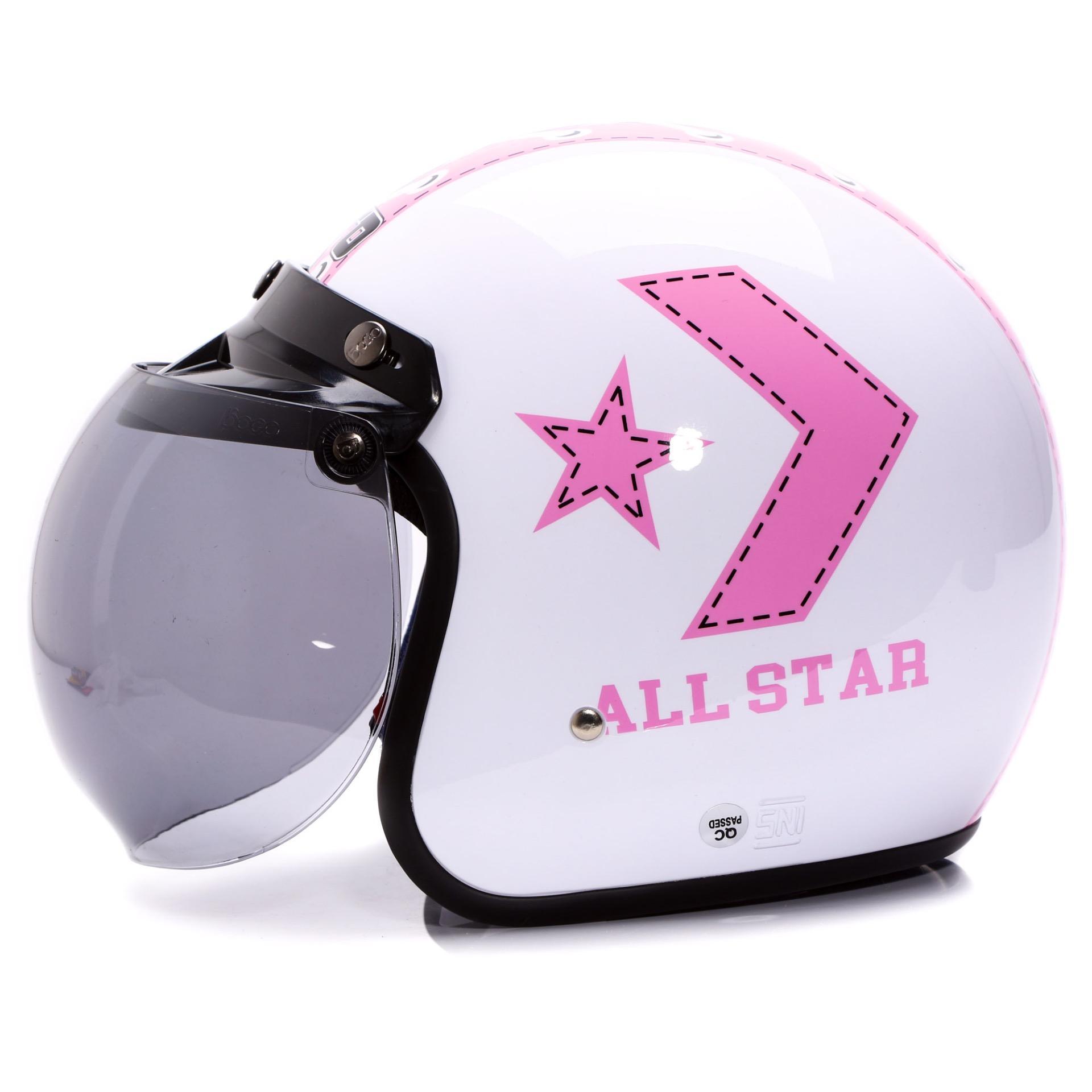 Wto Helmet Retro Bogo All Star Hitam Merah Daftar Harga Penjualan Junior Neo Rapunzel Ungu Putih Pink