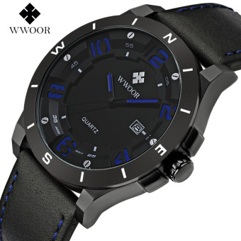 WWOOR 8014 Luxury Brand Watch Men Military Sports Watches Men's Quartz Analog 3D Face Hour Clock Male Leather Belt table Wrist Watch, Blue - intl