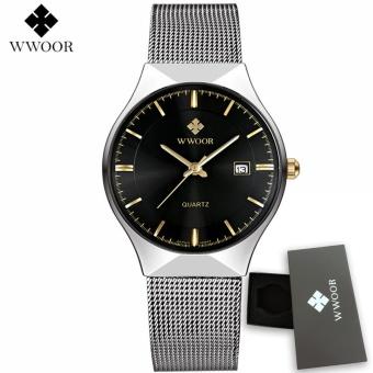 WWOOR 8016 Mens Watches Top Brand Luxury Gold Full Steel Quartz Watch Men Fashion Casual Sport Clock Male Wristwatches Relogios-silver black - intl