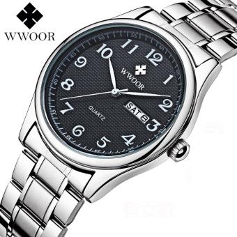 WWOOR 8805M Men Watches Date Week Calendar Casual Sports Watch Stainless Steel Quartz Watch, Black - intl
