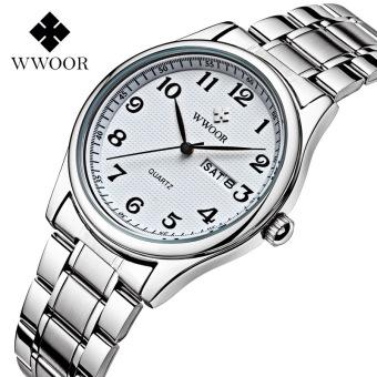 WWOOR 8805M Men Watches Date Week Calendar Casual Sports Watch Stainless Steel Quartz Watch, White - intl