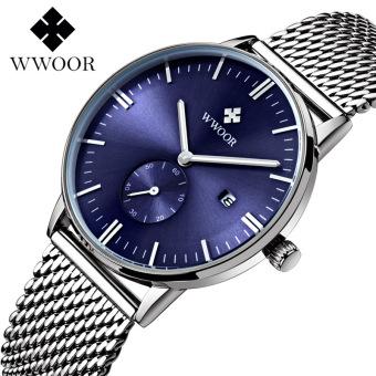 WWOOR 8808W Top Brand Luxury Men's Quartz Watch Date Luminous Analog Clock Male Waterproof Casual Sports Wrist Watch, Blue - intl