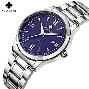 Wwoor 8809 Blue - Jam Tangan Formal Rantai (Pria) - Luminous Tanggal Kaca Hardlex Tahan Air - Original