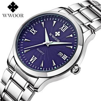 WWOOR 8809 Watches Men Fashion Casual Top Brand Luxury Business Full Steel Waterproof Quartz Wrist Watch Male Clock, Blue - intl