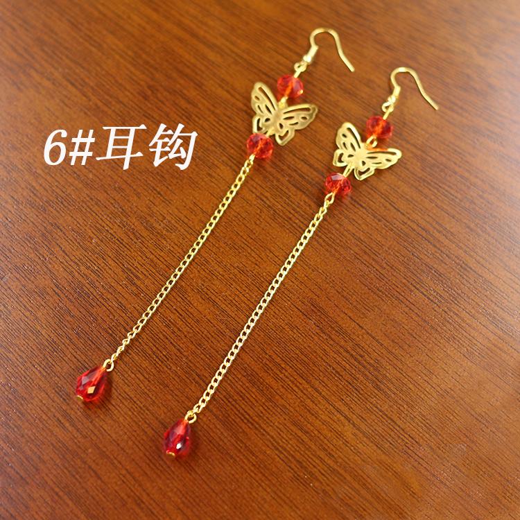 Cheap online Xiu pakaian merah Cina pengantin anting-anting rumbai anting-anting