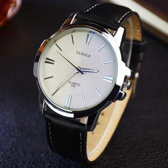 Yazole 332 Man Business Black Leather Strap Watches - intl