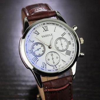 YAZOLE Brand Watch Men Women Watches Quartz Wristwatches Female Male Quartz-watch YZL317-Brown - intl