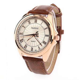 Yazole Business Watch Male Luxury High-end Fashion Elite Men's Quartz Watch (White + Brown)