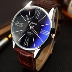 YAZOLE Jam Tangan Pria Quartz Leather Band 315 - Brown Black