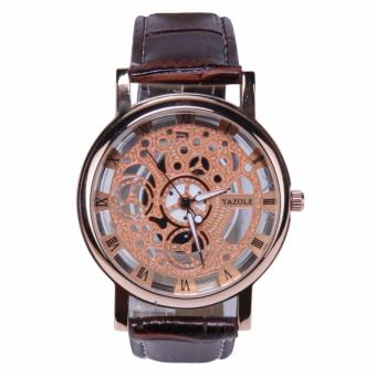 YAZOLE Jam Tangan Pria Vintage Leather Band Fashion Stainless Steel Sport Bussiness Quartz Wrist 321 - Gold Brown