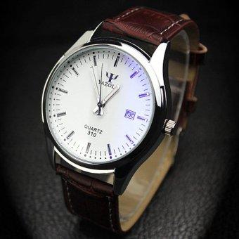 YAZOLE merek jam tangan wanita jam tangan pria jam kuarsa laki-laki kuarsa dunia YZL310-Brown - ???? ??????