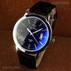 Yazole Pria Analog Jam Tangan Kulit Tahan Air Waterproof Calendar Men Leather Wrist Quartz Watch - Black Strap Black Dial