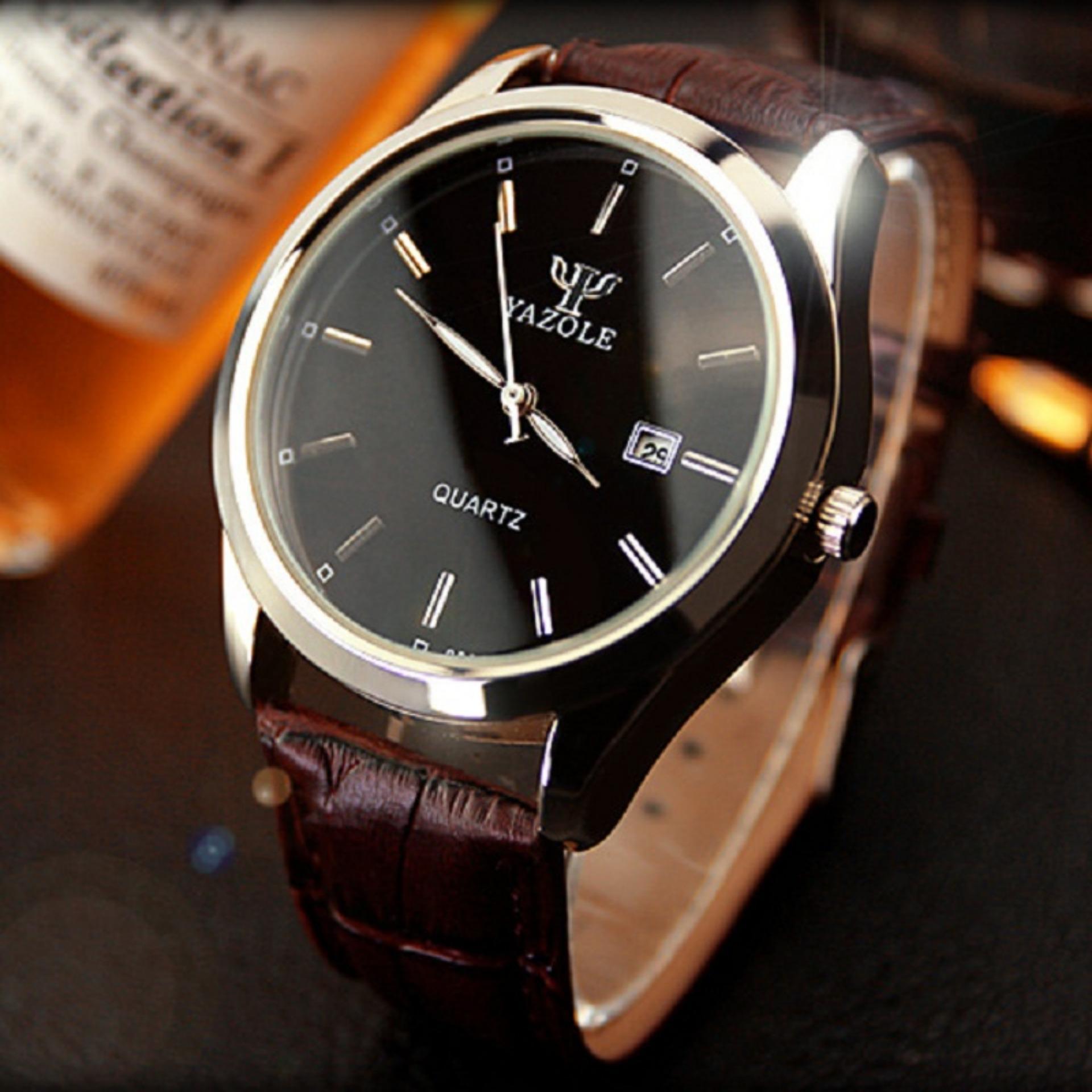 YAZOLE Vintage Men Leather Band Fashion Stainless Steel SportBussiness Quartz Wrist Watch YZL308H .