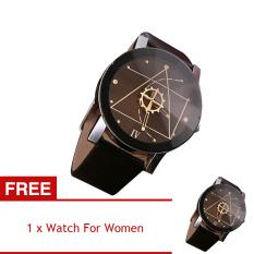 YBC Creative Couple Watches Minimalist Leather Analog Watch Black [Buy 1 Get 1 Free] - intl