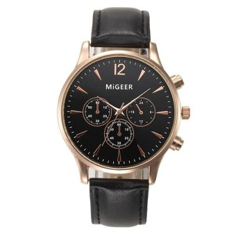YBC Men Fashion Business PU Leather Quartz Sport Watches - intl