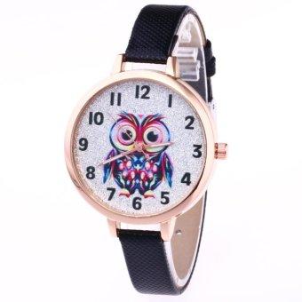 YBC Women Cute Owl Pattern Quartz Watch Casual PU Leather Strap Wristwatch - intl