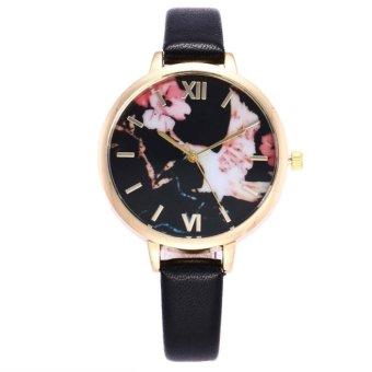YBC Women Elegant Quartz PU Leather Watch Flower Pattern Dial Casual Thin Strap Wristwatches - intl