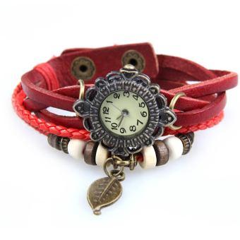 YBC Women Vintage Braided Rope Faux Leather Quartz Bracelet Wrist Watch Red - intl