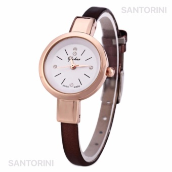 YUHAO Jam Tangan Kulit Fashion Analog Wanita Diamon Style Women Leather Strap Watch - BROWN