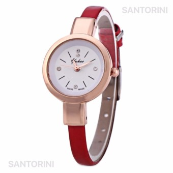 YUHAO Jam Tangan Kulit Fashion Analog Wanita Diamon Style Women Leather Strap Watch - RED