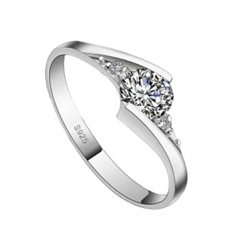 Zircon Couple Ring Lovers Silver Plated Ring Wedding Party DatingGift for Women - intl