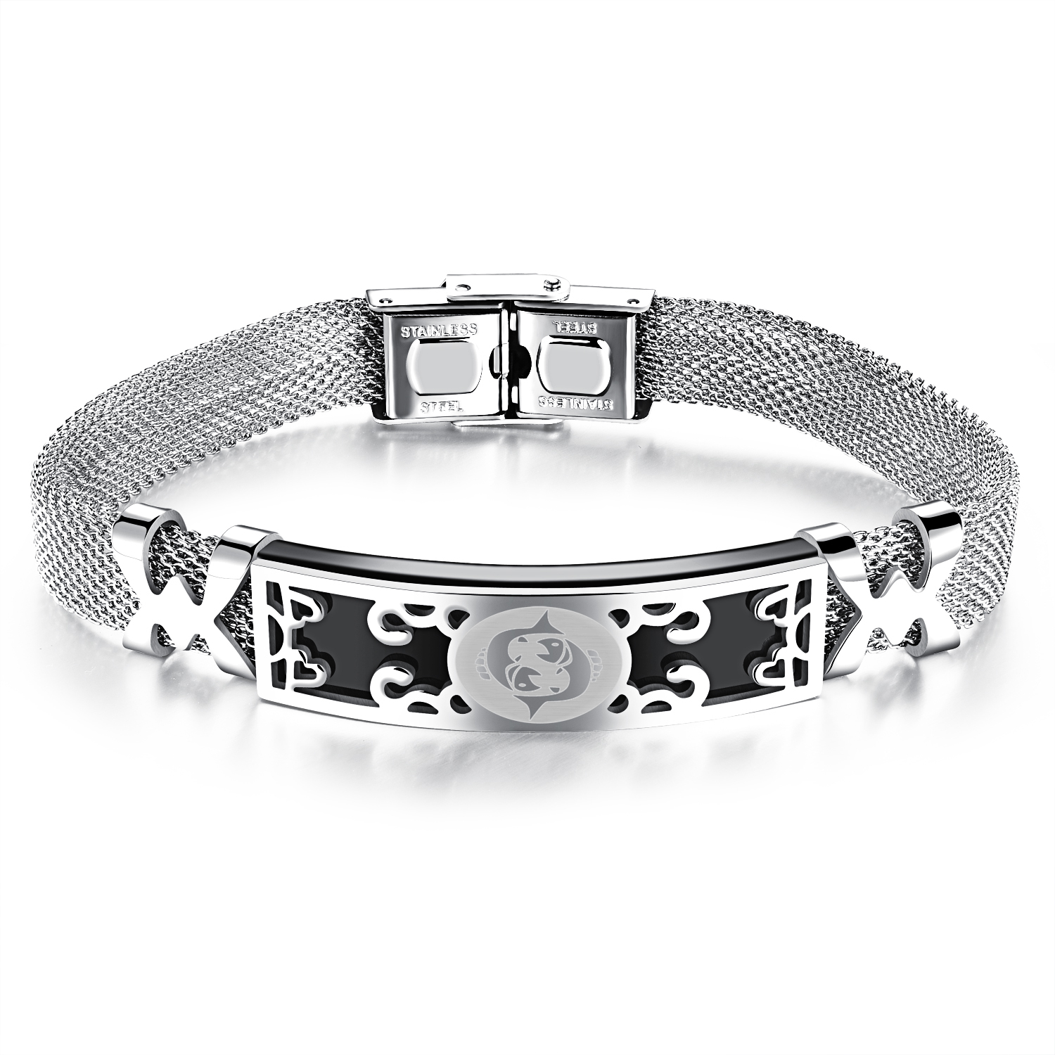 ZUNCLE Korea Constellation Hollow Men / Women Unisex Bracelet Bangles(Silver) -Pisces