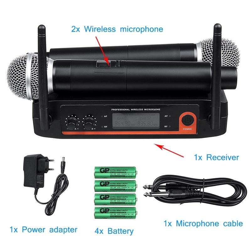 Microphones - Professional Quiet Microphone System UHF 2 PIECE(s) Handheld Mic Karaoke 220V - Audio