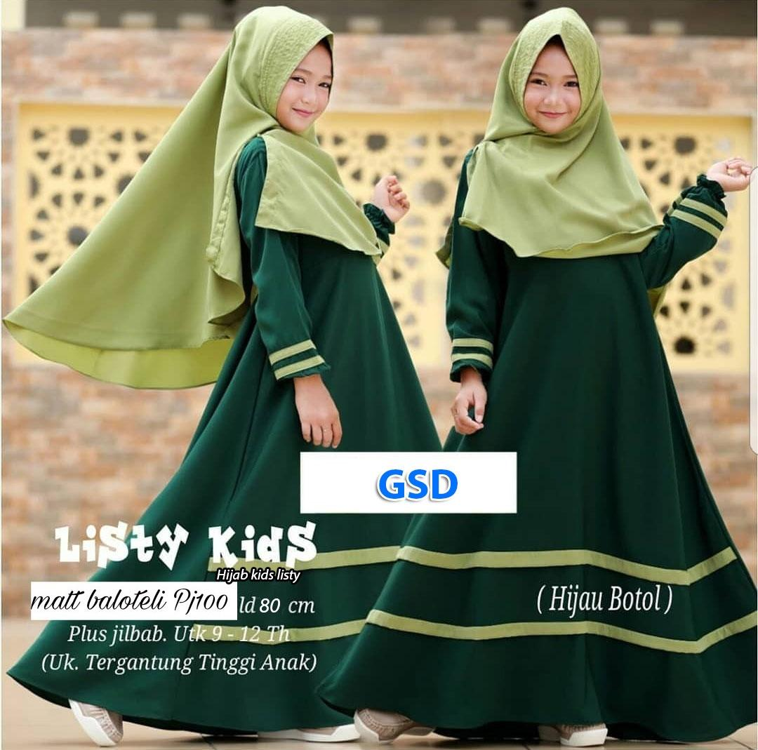 Hijab Kids Listy Setelan Dress Maxi Bergo Anak Terusan Dress Gamis Syari Anak Baju Muslim Anak Pakaian Dress Muslim Anak