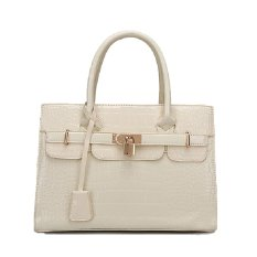 Candy Color Alligator Pattern PU Tote Bags Shoulder Bag (Beige)