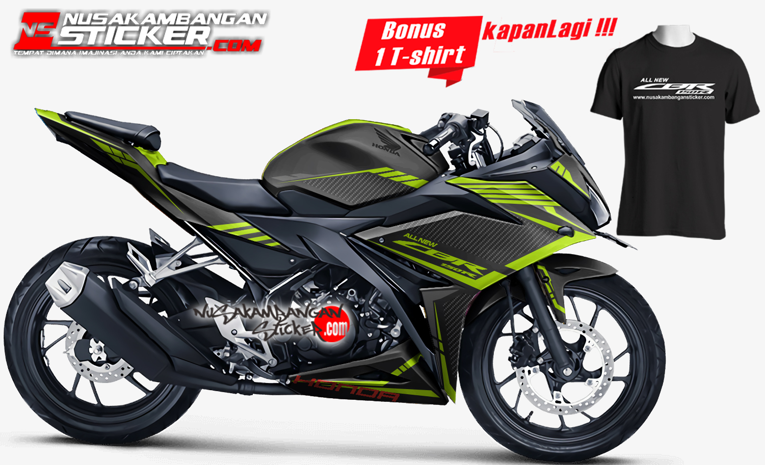 Decal Stiker CBR 150 R All New Karbon Grafis Hijau Nusakambangan Sticker