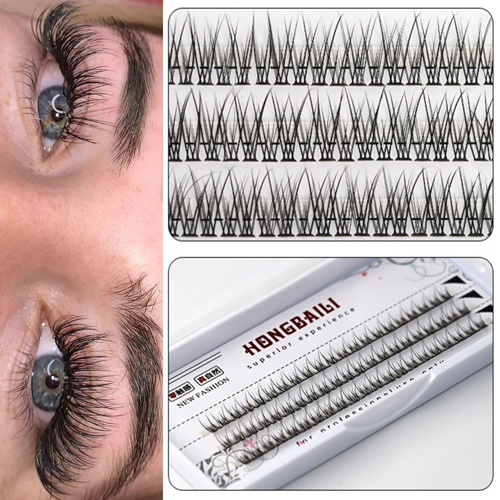 SDFHD 8-14Mm Faux Mink ผมนุ่ม Self-ต่อขนตาหนา Handmade Eye ขนตา Flare Lashes แต่งหน้า Fishtail คลัสเตอร์ขนตาปลอม