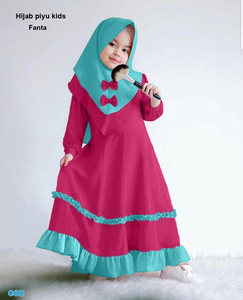 Gamis anak / setelan gamis anak usia 11-11 tahun / baju muslim anak perempuan  / hijab pita anak / Maxi firza kids