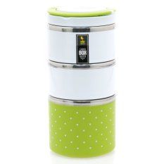 Homio Lunch Box Rantang 3 Susun + Pegangan - Hijau