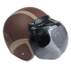 Matrix Helm - Helm Bogo Retro Coklat Garis Krem