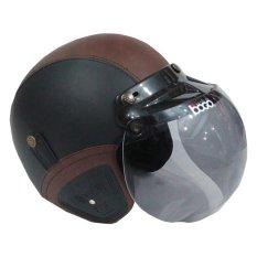 Matrix Helm - Helm Bogo Retro Hitam Coklat
