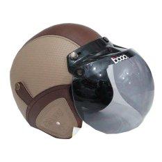 Matrix Helm - Helm Bogo Retro Krem Coklat