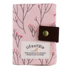 niceEshop Canvas Flower Credit Card Case Bag Holder with 20 Card Slot Light Pink