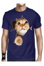 T-Shirt Glory Kaos 3D Cat Brown Navy - Navy