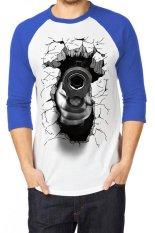 T-Shirt Glory Kaos 3D Shoot Accuracy Raglan Putih Biru - Putih Biru