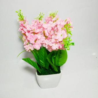 Tanaman Rangkaian Bucket Buket Bunga Pohon Plastik Artificial Artifisial Sintetis Pot Vas Melamin Hiasan - Lavender